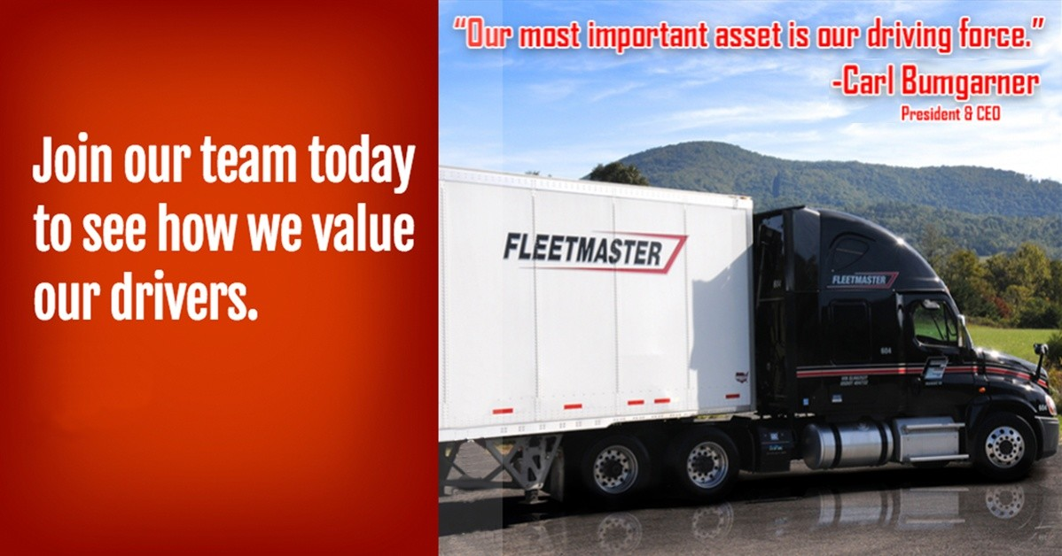 Fleetmaster Express is looking for truck drivers.